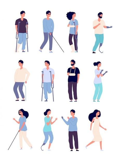 Persone disabili. portatori di handicap con stampelle e sedia a rotelle caratteri vettoriali isolati per concetti di disabilità Vettore Premium