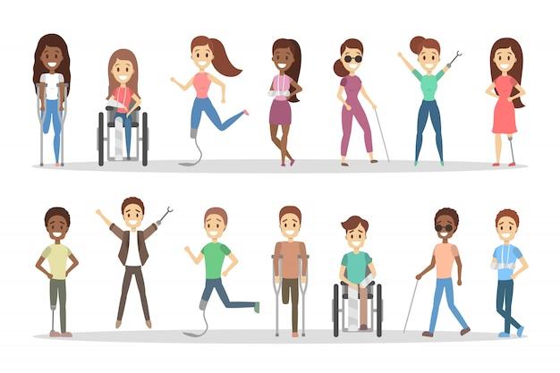 Set di persone disabili. uomini e donne con stampelle e sedia a rotelle. Vettore Premium
