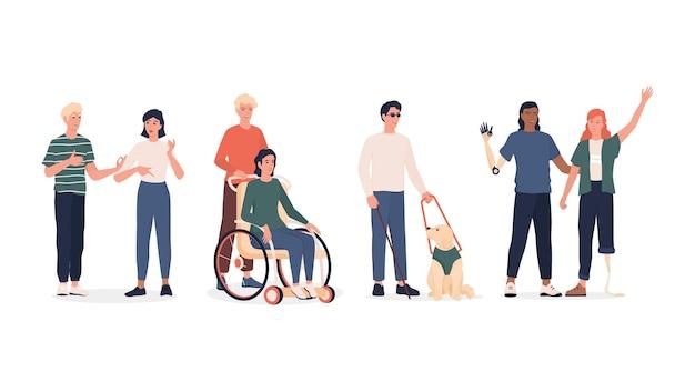 Set di persone disabili. uomini e donne con protesi e sedia a rotelle, sordomuti e ciechi con cane di scorta. . Vettore Premium