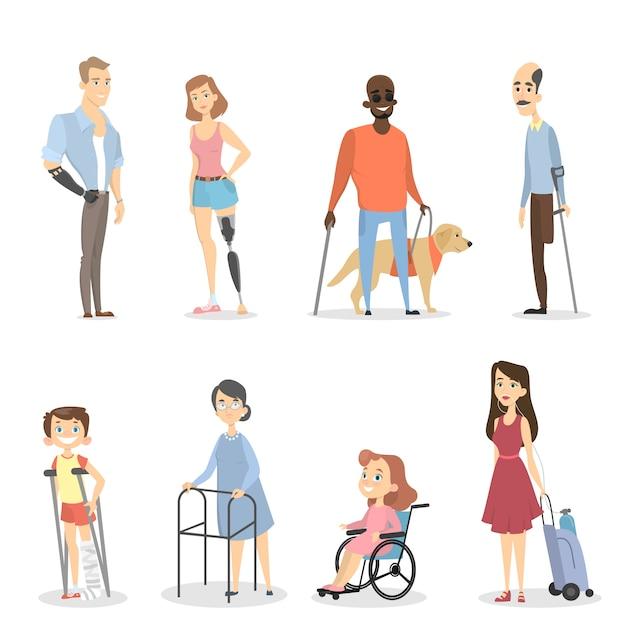 Disabili con gambe o braccia assenti o non vedenti. Vettore Premium