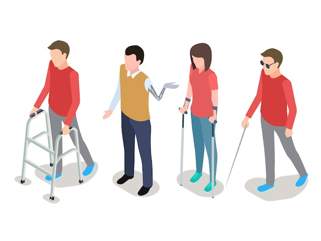 Set di persone disabili Vettore Premium