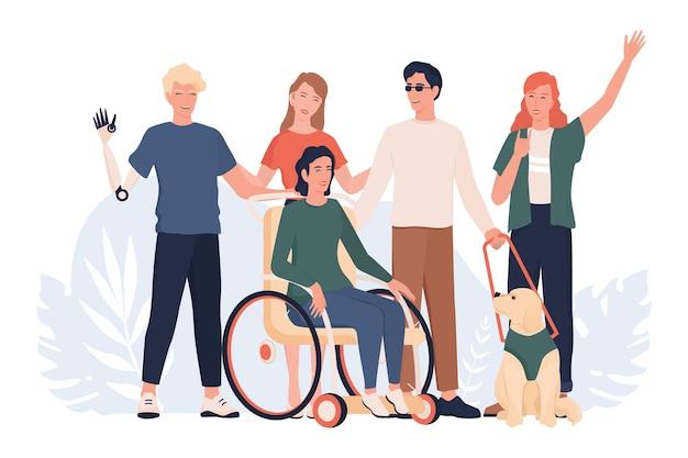Disabili che stanno insieme. disabili che vivono il concetto di vita attiva, l'abilità e la devirsità. persone con protesi e sedia a rotelle, sordomute e cieche. Vettore Premium