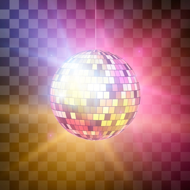 Palla da discoteca con raggi luminosi su sfondo trasparente, sfondo retrò festa di notte. illustrazione su sfondo trasparente Vettore Premium