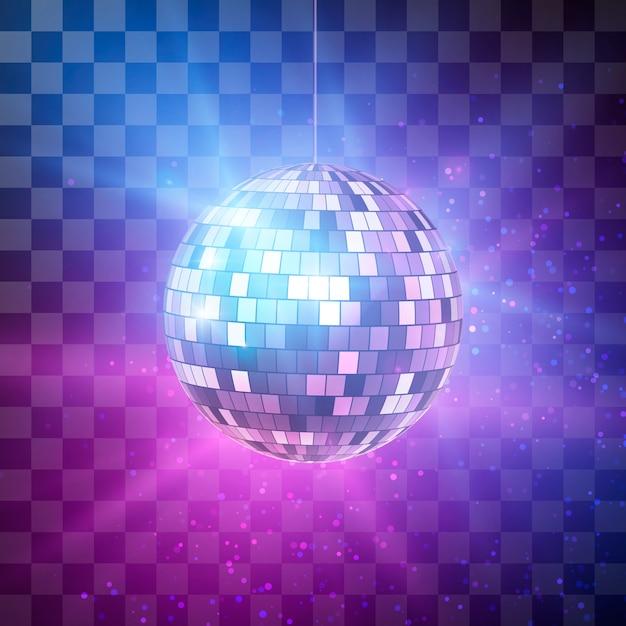 Palla da discoteca con raggi luminosi su sfondo trasparente, sfondo retrò festa di notte. illustrazione Vettore Premium
