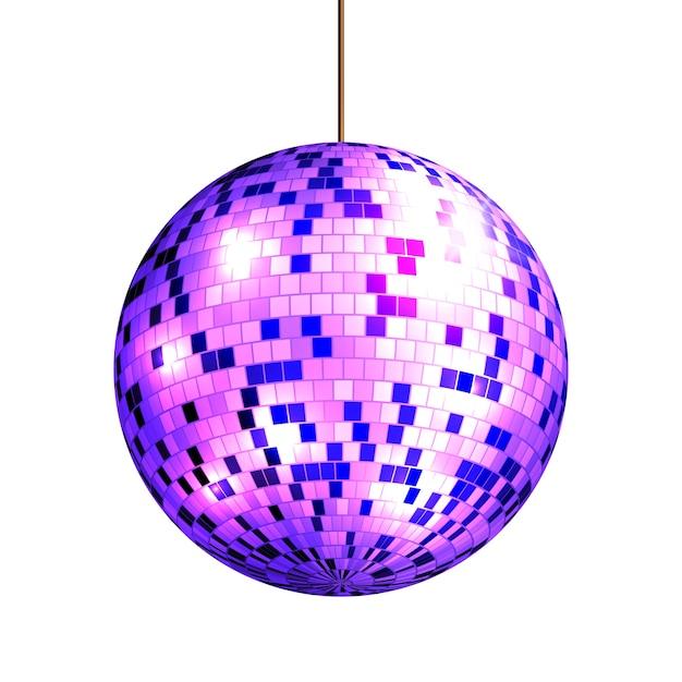 Palla da discoteca con raggi di luce isolati su sfondo bianco, Vettore Premium