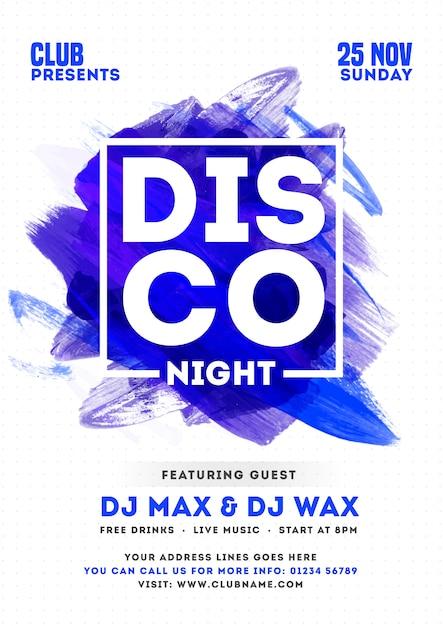 Disco night party invito card o modello design con effetto tratto pennello e dettagli dell'evento. Vettore Premium