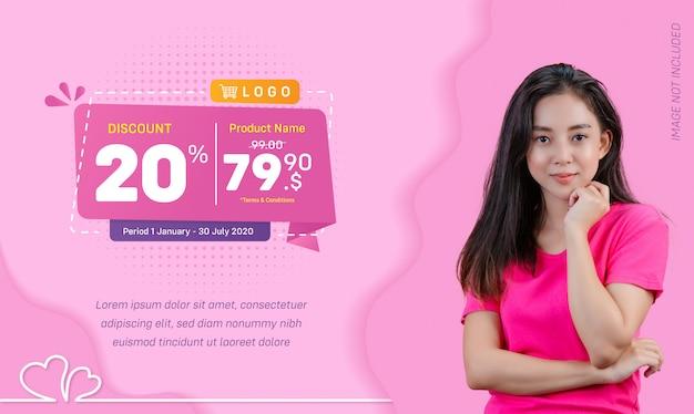 Fondo rosa liquido di vendita dell'insegna di media sociali di sconto Vettore Premium