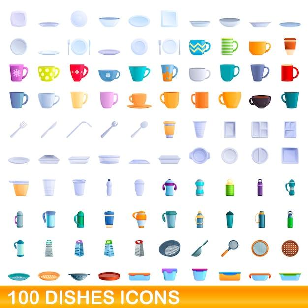 Set di icone di piatti. illustrazione del fumetto delle icone dei piatti messe su fondo bianco Vettore Premium