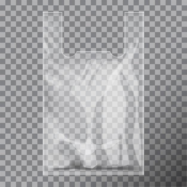 Pacchetto monouso in plastica trasparente per t-shirt. Vettore Premium