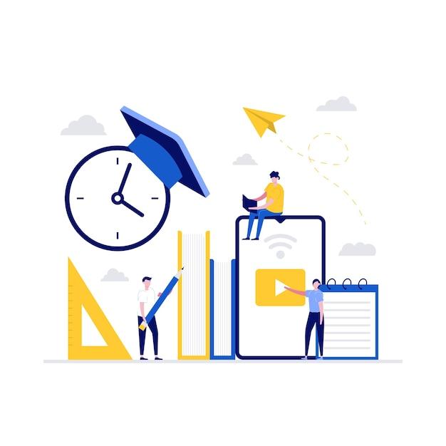 Concetto di illustrazione della tecnologia di formazione a distanza. gli studenti studiano online nell'università o nel campus universitario. Vettore Premium