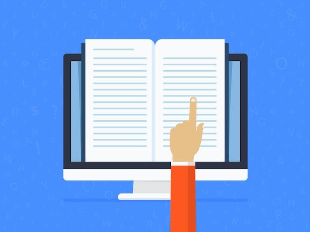 Apprendimento a distanza online. modifica e lettura di un documento di testo con l'aiuto di una mano. Vettore Premium