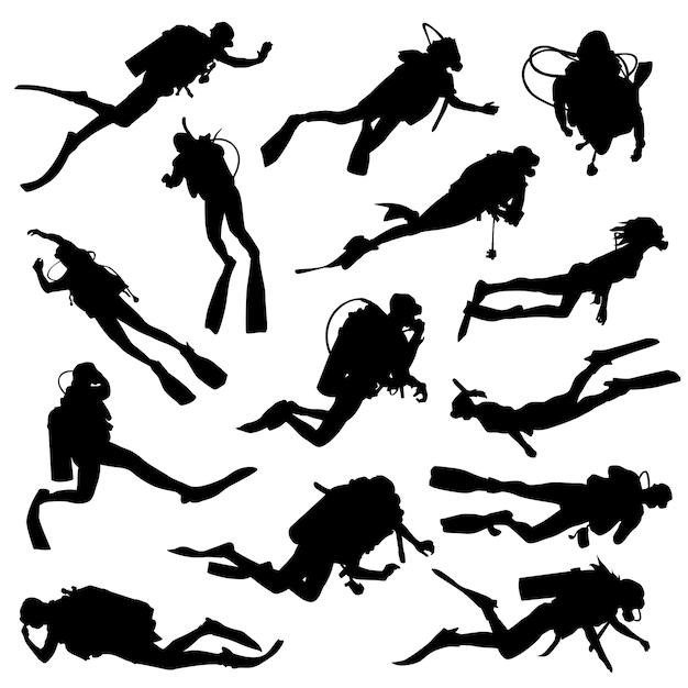Diver sport sea silhouette clip art Vettore Premium