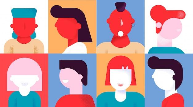 Insieme creativo dell'icona dell'avatar di emozione varia della gente Vettore Premium