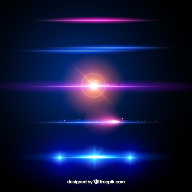 Collezione di divisori con effetto luce Vettore Premium
