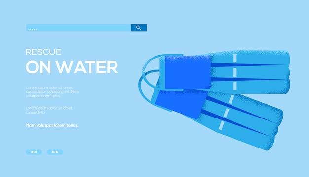 Volantino di concetto di strumenti di immersione, banner web, intestazione dell'interfaccia utente, entra nel sito. . Vettore Premium