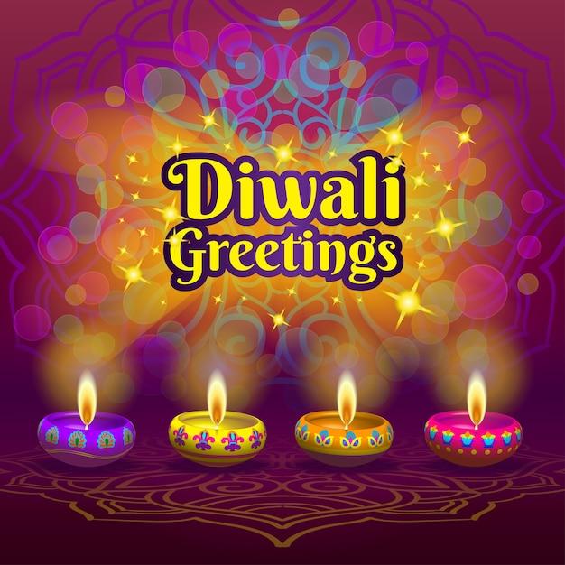 Diwali saluti Vettore Premium