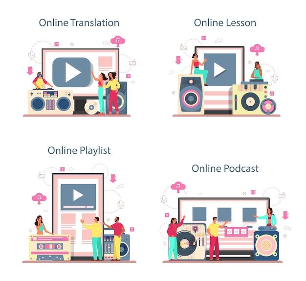 Servizio online di concetto di dj o set di piattaforme. traduzione, lezione, podcast e playlist. la persona in piedi al mixer del giradischi fa musica nel club. illustrazione vettoriale piatto isolato Vettore Premium