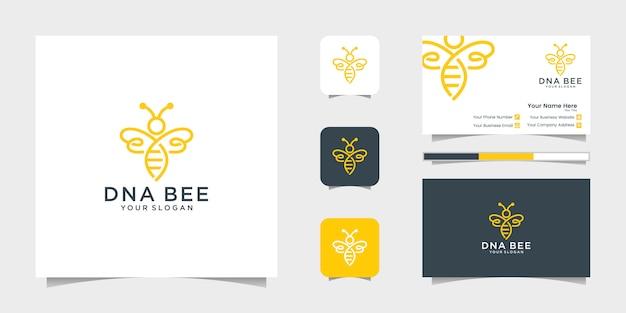 Dna bee miele creativo icona simbolo logo linea arte stile logotipo lineare. design del logo, icona e biglietto da visita Vettore Premium