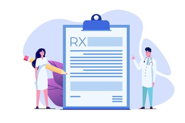 Carattere medico scrivendo modulo di prescrizione rx. concetto di clinica online. Vettore Premium