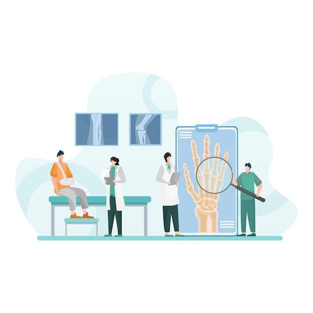 Controllo medico delle dita rotte isolato illustrazione piatta Vettore Premium
