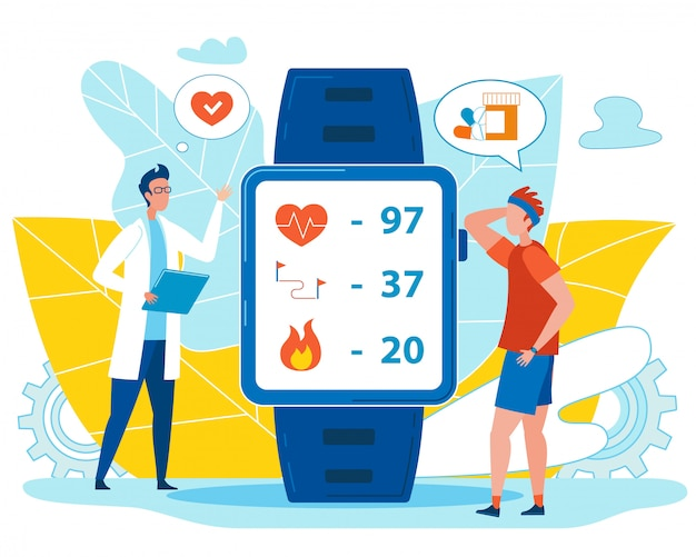 Doctor check health indicators su smart watch Vettore Premium