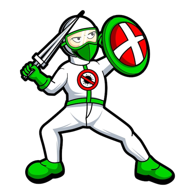 Medico che combatte l'illustrazione di progettazione del carattere della mascotte del virus corona Vettore Premium