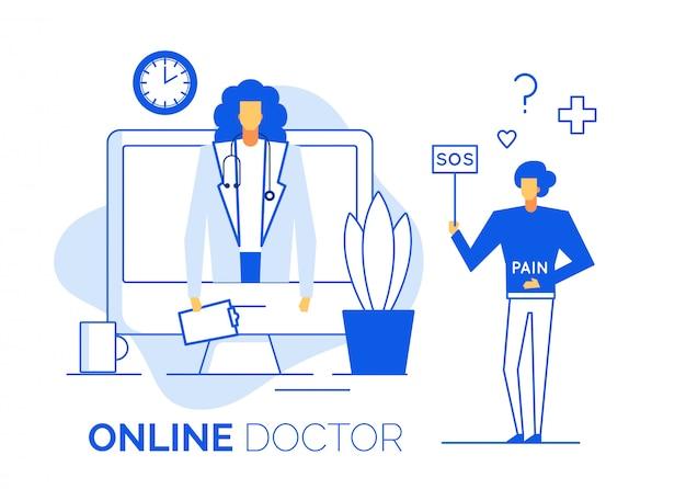 Il medico fornisce consulenza online al paziente malato Vettore Premium