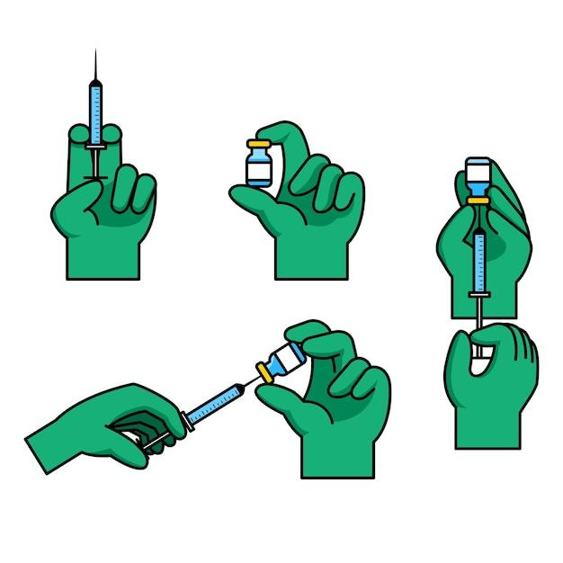 Gesto della mano del medico che prepara l'iniezione del vaccino Vettore Premium