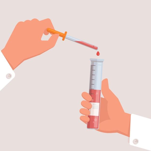 Aggiusti la provetta e la pipetta della holding della medicina in mani. Vettore Premium
