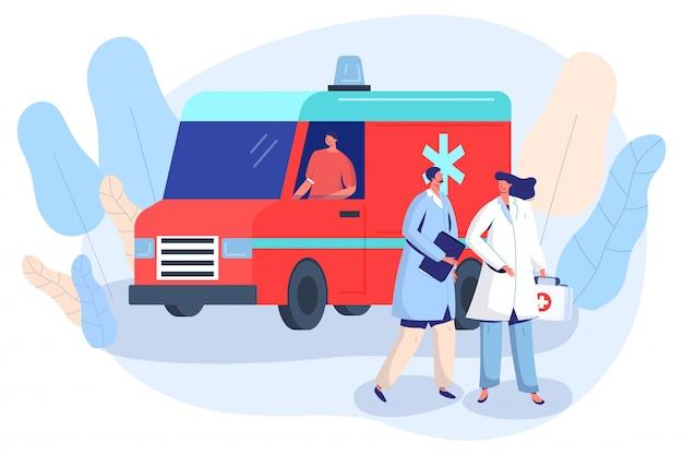 Medico ed infermiere all'automobile dell'ambulanza, illustrazione di vettore del veicolo del pronto soccorso Vettore Premium
