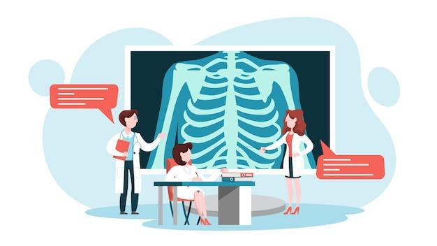Medico in piedi intorno a una grande immagine a raggi x del torace Vettore Premium