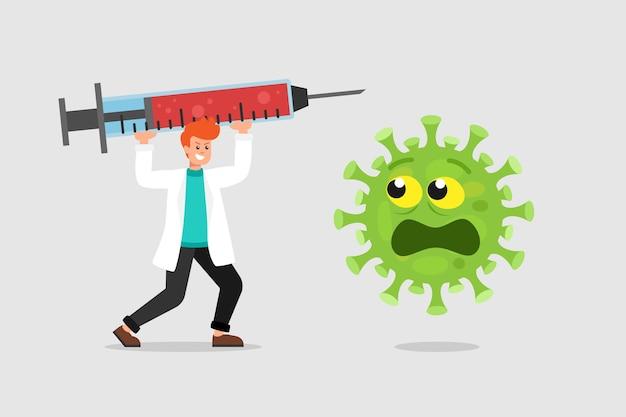 Medico con grande siringa e virus spaventato Vettore Premium