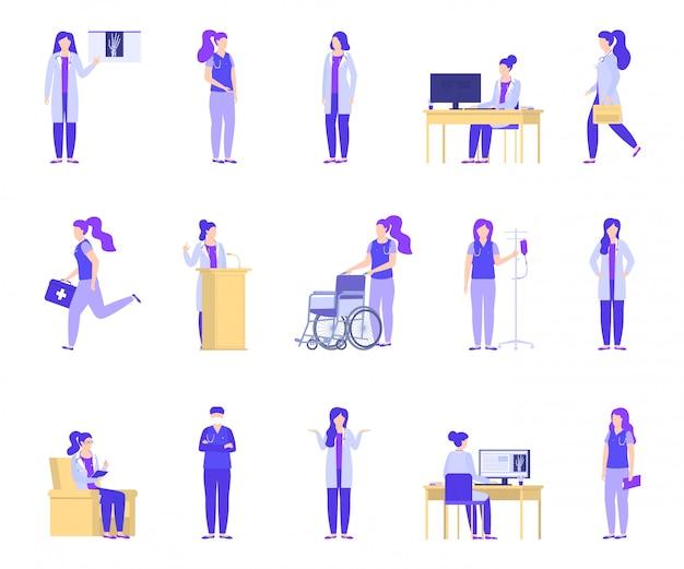 Aggiusti la donna che lavora nella clinica medica, insieme dell'ospedale. Vettore Premium