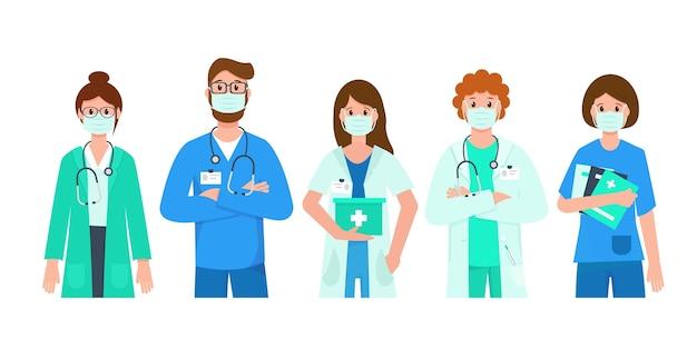 Medici e infermieri che indossano maschere mediche. Vettore Premium