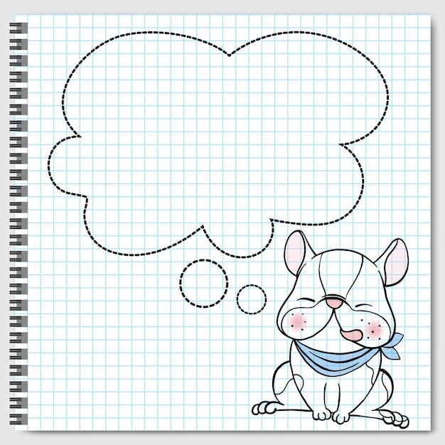 Cane di boston terrier della razza che si siede con i fumetti. Vettore Premium