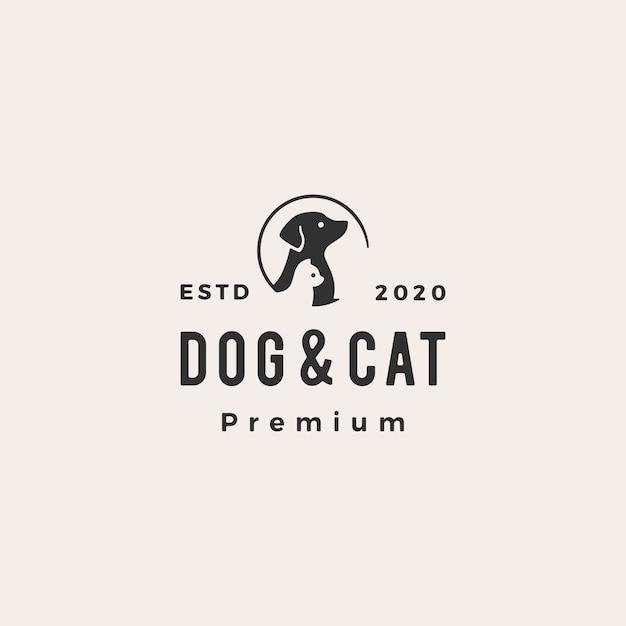 Illustrazione d'annata dell'icona di logo dei pantaloni a vita bassa dell'animale domestico del gatto del cane Vettore Premium