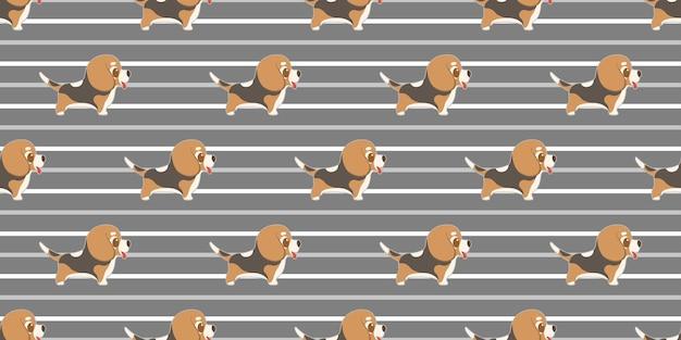 Cane beagles senza cuciture del modello su bianco. Vettore Premium