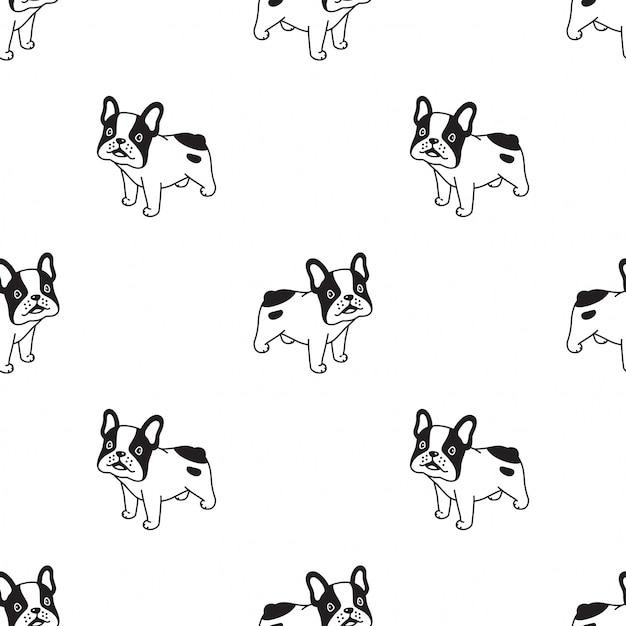 Cane senza cuciture franch bulldog cartoon Vettore Premium