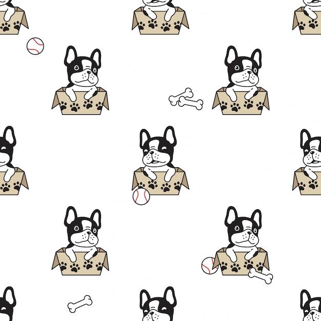 Cartone animato senza soluzione di continuità cane scatola di carta cartone animato bulldog franch Vettore Premium
