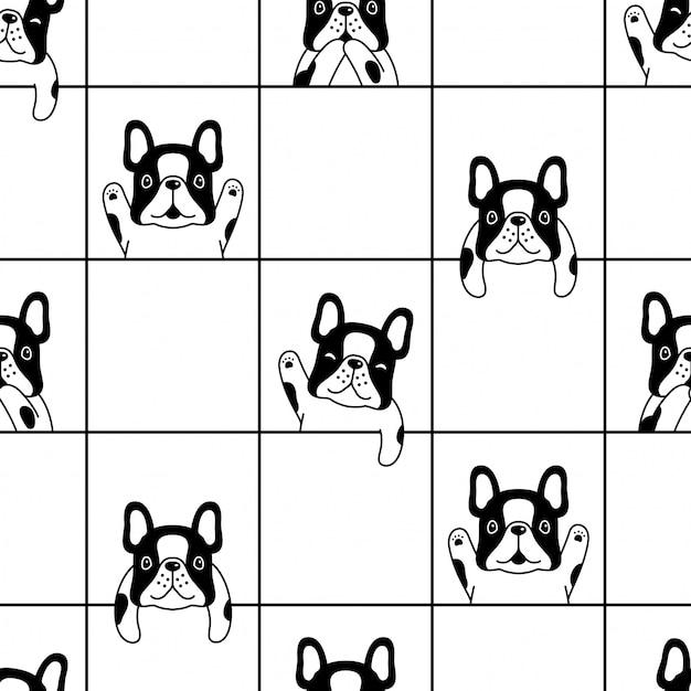 Illustrazione senza cuciture del fumetto del bulldog francese del modello del cane Vettore Premium