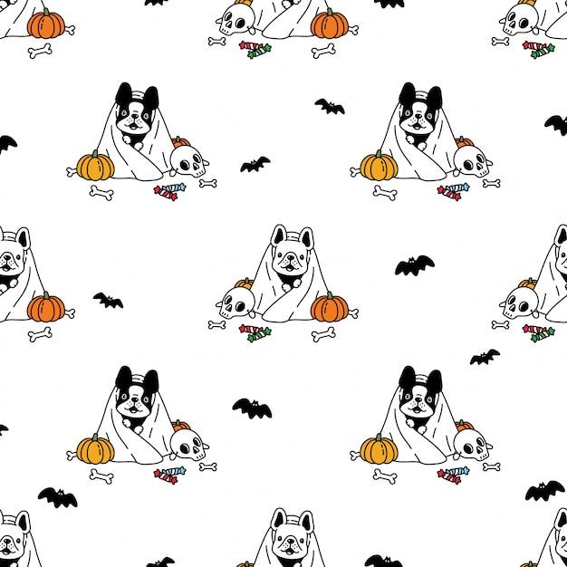 Illustrazione senza cuciture del fumetto della zucca di halloween del bulldog francese del modello senza cuciture del cane Vettore Premium