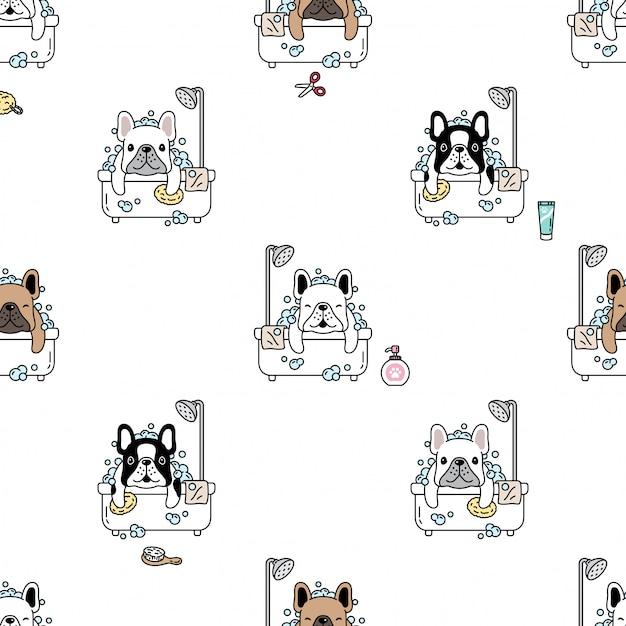 Cane senza cuciture bulldog francese doccia bagno cartoon Vettore Premium