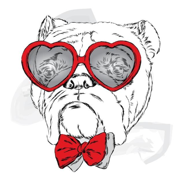 Cane con gli occhiali cuori il giorno di san valentino Vettore Premium