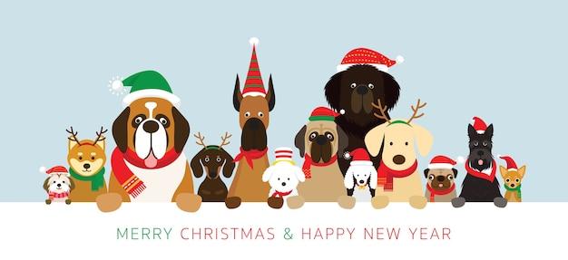 Cani in costumi natalizi Vettore Premium