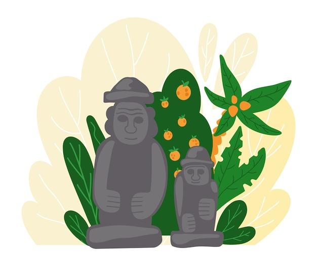 Statua di dolharubang. simbolo tradizionale dell'isola di jeju in corea del sud Vettore Premium