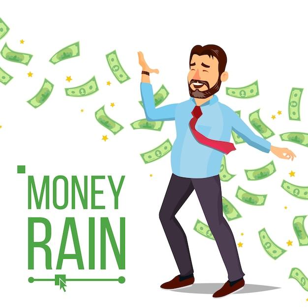 Dollar rain uomo d'affari Vettore Premium