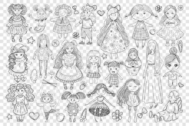 Bambole e giocattoli per ragazza doodle insieme illustrazione Vettore Premium
