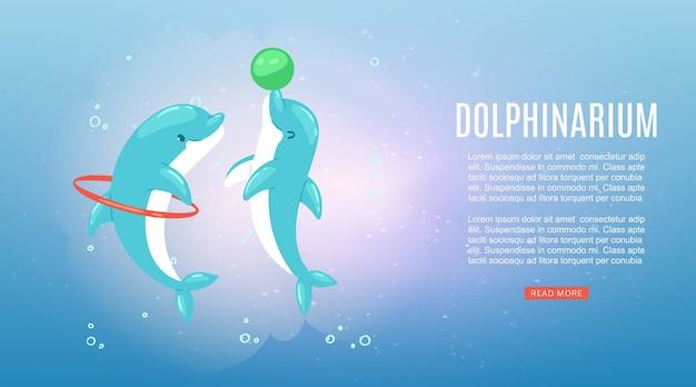 Delfinario, iscrizione, natura subacquea dell'oceano, delfino blu marino, spettacolo di mammiferi marini, illustrazione. fauna selvatica luminosa, salta attraverso l'anello, divertente gioco con la palla, acquario d'acqua. Vettore Premium