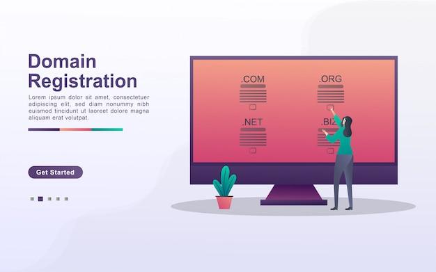 Del concetto di registrazione del dominio, il concetto di registrazione di un dominio di un sito web utilizzando un computer. Vettore Premium