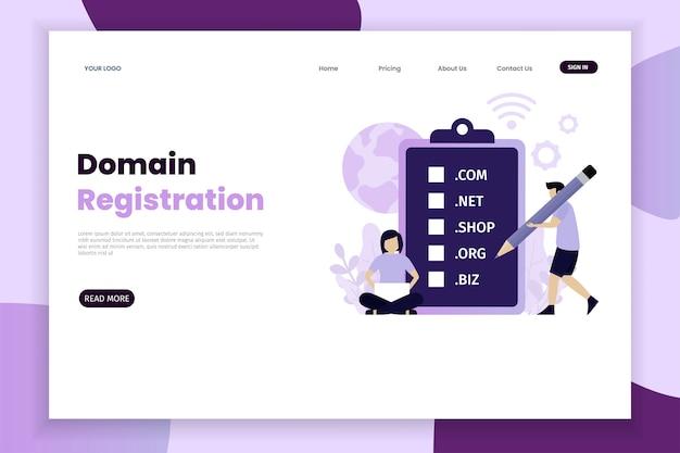 Pagina di destinazione del concetto di registrazione del dominio con carattere Vettore Premium